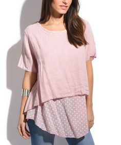 Another great find on #zulily! Old Pink Polka Dot-Panel Linen Top - Plus Too #zulilyfinds