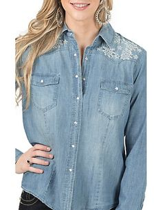 Wired Heart Women's Denim with Sequin Floral Embroidery Long Sleeve Western…