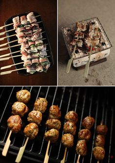 Pork belly and shiso; grilling on the konro; tori no tsukune on the weber.
