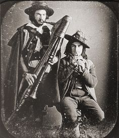 2 Musicians, c1850. Musicians have always been a little over the top i'm guessing.