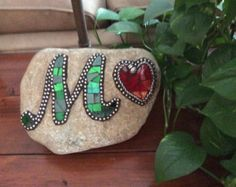 Monogram Mosaic Stained Glass Rock with Heart