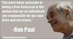 """The most basic principle to being a free Amercian is the notion that we as individuals are responsible for our own lives and decisions."" #quote"