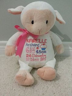 Personalized Baby Cubbies  Loverby Lamb  by HibouTChoux on Etsy, $34.95 Cubbies, Personalized Baby, Lamb, Applique, Teddy Bear, Gift Ideas, Toys, Gifts, Animals
