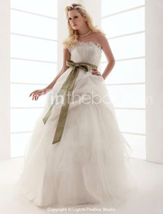 Ball Gown Strapless Floor-length Tulle Wedding Dress With Sashes - USD $ 249.99