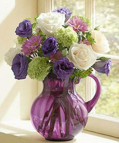 Pretty Purple Vase and Flowers (Posted on Facebook by Beautiful Things, Heart, and Home)