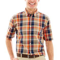 St. John's Bay® Short Sleeve Madras Plaid Woven Shirt - JCPenney