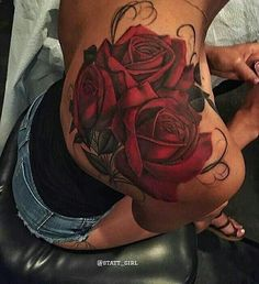 Rose back tattoo #backtattoos
