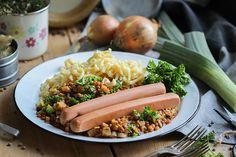 Vegane Linsen-Spätzle-Seitanwürstle