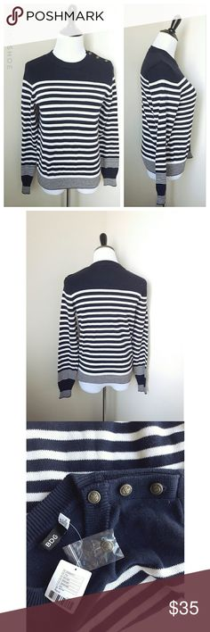 {urban outfitters} striped sweater A classic and chic striped sweater from Urban Outfitters  Brand is BDG  Has a flattering silhouette and looks great with jeans  Features some classy buttons on the shoulder.  Warm and cozy  Brand new with tags Size small Urban Outfitters Sweaters