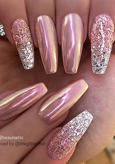 34 Eye-Catching Chrome Nail Art Designs for 2019 - Skin Care, Nails , Body Makeup, Summer Skin Care Chrome Nails Designs, Chrome Nail Art, Cute Acrylic Nail Designs, Nail Art Designs, Pink Chrome Nails, Acrylic Nails Chrome, Fancy Nails, Bling Nails, Pretty Nails