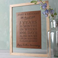 Create A Truly Stunning Display Piece To Celebrate Three Years Of Married Life With Our Leather Print Available In An Oak Or White Frame