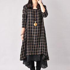 Women Cotton Linen Loose Fitting Long Sleeve Dress - Buykud - 1