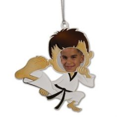"""Our Flying Kick Photo Christmas Ornament is an awesome way for the martial arts enthusiast to add something different to their tree this holiday season. It measures over 3.5"""" in height and features a cool aerial kick pose that you can put a picture of your face in to personalize! They also make great gifts for kids as their very own karate picture frame decoration.  Don't forget to check out our other great deals on decorations and martial arts kicking ornaments! Karate Picture, Taekwondo Kids, Gifts For Kids, Great Gifts, Frame Decoration, Photo Christmas Ornaments, Picture Frame Decor, Anarchy, Pictures Of You"""