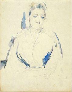 Madame Cézanne, Paul Cézanne ca. 1890 Graphite and watercolor on white leaf paper