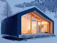 Prefab cabins are easily assembled and removed for snowboard school without damaging pristine landscape.