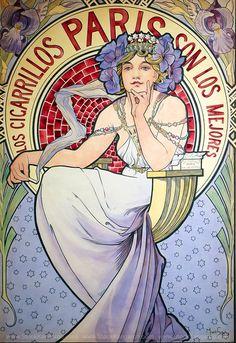 Alphonse Mucha Art Nouveau French Illustrations and Paintings — Stock Kangaroo Art Nouveau Mucha, Alphonse Mucha Art, Paris Vintage, Vintage Art, Illustration Française, Illustrator, Motif Art Deco, Art Deco Movement, Stock Art