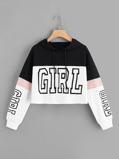 Color-Block Letter Print Drawstring Hoodie - - Color-Block Letter Print Drawstring Hoodie – kidenhome Source by Girls Fashion Clothes, Teen Fashion Outfits, Mode Outfits, Outfits For Teens, Tomboy Outfits, Punk Fashion, Lolita Fashion, Fashion Dresses, Cute Lazy Outfits