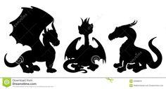 Dragon Cartoon Silhouettes Stock Illustration - Image: 42089616