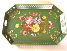 Vintage Nashco Serving Tray Tole Painted Huge Large Tray Hand Painted Green Pink Roses and Gold Made in USA Mid Century Shabby Cottage Chic  by HouseofLucien