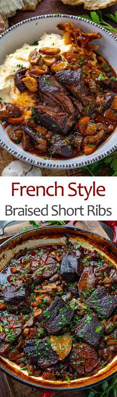French Style Braised Short Ribs Rib Recipes, Slow Cooker Recipes, Crockpot Recipes, Dinner Recipes, Cooking Recipes, Healthy Recipes, Healthy Food, Beef Dishes, Food Dishes