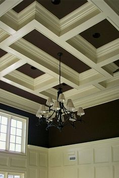Love the differing sizes and shapes of the boxes in this coffered ceiling. Gorgeous! www.woodmasterwoodworks.com