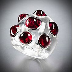 White Sapphire and Red Spinel Ring by Suzanne Belperron #red