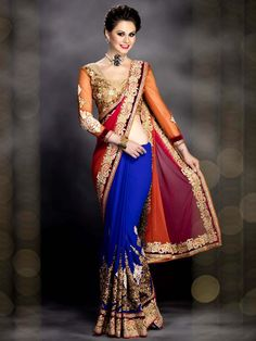 Charming blue, orange, pink color georgette, net saree with resham, zari, kundan work. Item Code : SUR7159 http://www.bharatplaza.com/new-arrivals/sarees.html