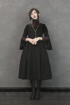 Foxtrot -The Nun- Vintage Gothic Lolita OP Dress,Lolita Dresses, Pretty Outfits, Cool Outfits, Fashion Outfits, Alternative Outfits, Alternative Fashion, Nun Outfit, Priest Outfit, Estilo Dark, Romantic Goth