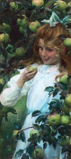 Curran, Charles Courtney (b,1861)- Girl Eating Apple