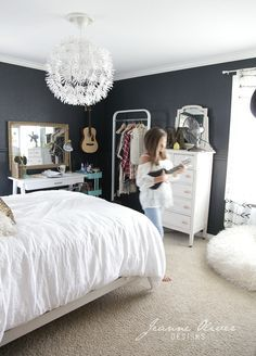 teen girls room gray striped walls black and white bedding kids rooms pinterest nooks room closet and girls - Teenage Girls Bedroom Decor