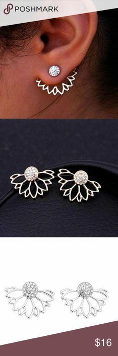 5 for $25 Double Sided Crystal Flower Earrings Double Sided Crystal Flower Earrings Jewelry Earrings
