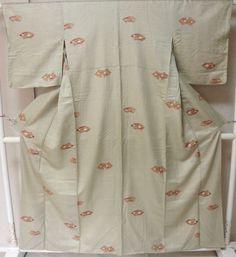 Japanese Kimono Geisha costume Green Komon used Vintage dress gown silk awase