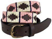 Ladies Skinny Argentine Narrow Polo Belt Pink / White / Purple Stripe.