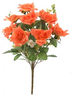 Fourwalls Magnificent Artificial Synthetic Rose Bunch (Orange, 40 cm tall)