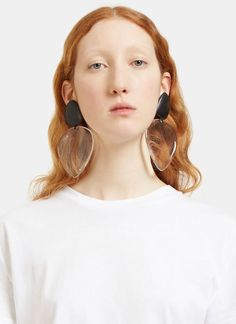 Ebony and plastic Large Clip-on Drop Earrings