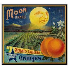 Art.com Moon Orange Label - Redlands, CA by Lantern Press - Mounted Print : Target