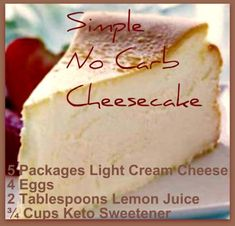 zero carb desserts simple no carb cheesecake ketosweetener ketocheesecake carbfreedesserts carbswitch cheesecakerecipe 564146290821979840 Carb Free Desserts, Low Carb Deserts, Keto Friendly Desserts, Low Carb Sweets, Easy Desserts, Dessert Recipes, Atkins Desserts, Dessert Blog, Keto Desserts