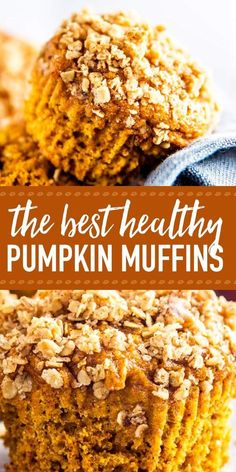 These are the BEST healthy pumpkin muffins out there! They are incredibly easy t… These are the BEST healthy pumpkin muffins out there! They are incredibly easy to put together and they turn out so moist with ONE ENTIRE can… Continue Reading → Gourmet Recipes, Cooking Recipes, Healthy Recipes, Easy Recipes, Fall Breakfast, Breakfast Recipes, Dinner Recipes, Oatmeal Breakfast Bars, Healthy Breakfast Muffins