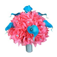 """10"""" Large Bouquet-coral reef color roses with real touch turquoise calla lily-White bling handle"""