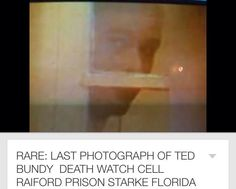 This is not the 'last photo' of him before his death in the chair. This is actually a videostill of Ted the second time he escaped the electric chair. He got an appeal seven hours before. No cameras were allowed to do closeups on the initial actual execution. The videostill of this can be found on youtube.