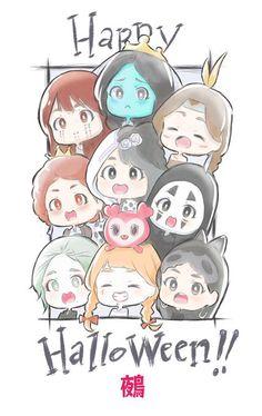 Twice Halloween Disfraces Fanart Kpop Nayeon, Twice Dahyun, Tzuyu Twice, Chibi Wallpaper, Cartoon Wallpaper, Twice Group, Twice Fanart, Sana Minatozaki, Kpop Drawings