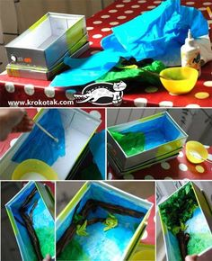 Swing from an empty shoe box Craft Activities For Kids, Diy Crafts For Kids, Projects For Kids, Fun Crafts, Art Projects, Paper Crafts, Diorama Kids, Diy Christmas Videos, Art N Craft