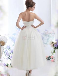 ❀ A-Line Tulle Bridal Gown Pleated Bandeau Sleeveless Ankle Length With Appliques | Riccol ❤