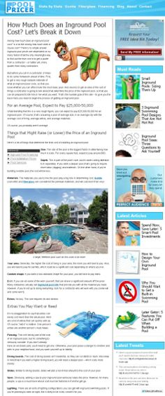 The Pool Pricer website has loads of pool design ideas and info - check it out!