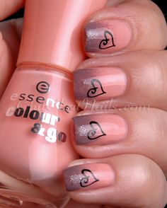 I love the colours chosen for this Valentine's Day nail art Gradient Hearts: essence Modern Romance with China Glaze Below Deck gradient