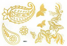 "coolTop Women Tattoo - Body art tattoo size 5.91""x4.33"" fashionable Golden gold flowers and b..."