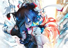 Anime picture 1200x851 with  original tian ling qian ye bai yemeng long hair blue eyes black hair fringe red hair ahoge bicolored hair angry arm up clenched teeth aura unsheathing girl gloves weapon sword fingerless gloves
