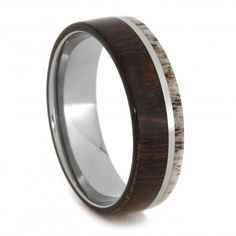 Titanium Ring with Natural Shed Antler and Ironwood.