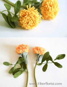 Mexican marigold handmade with sustainable felt fabric and wire FiberFlorist.com creations