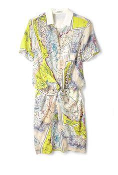 Carven Map Print Silk Dress